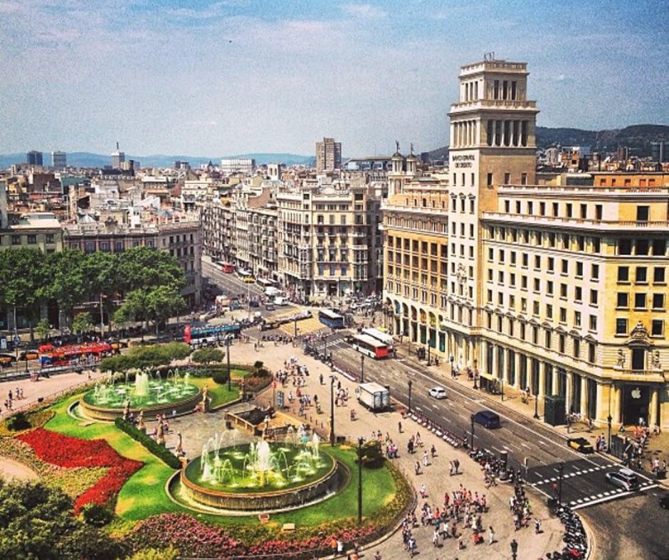 aerial-view-of-plaça-de-catalunya Barcelona Attractions
