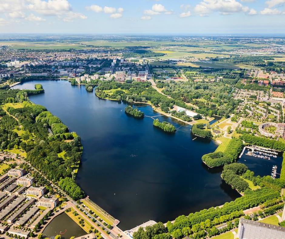 Aerial-view-of-Sloterplas-lake